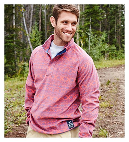 (Southern Marsh Men's Monmouth Flurry Fleece 1/4 Zip Pullover (Small, Red/French Blue Flurry))