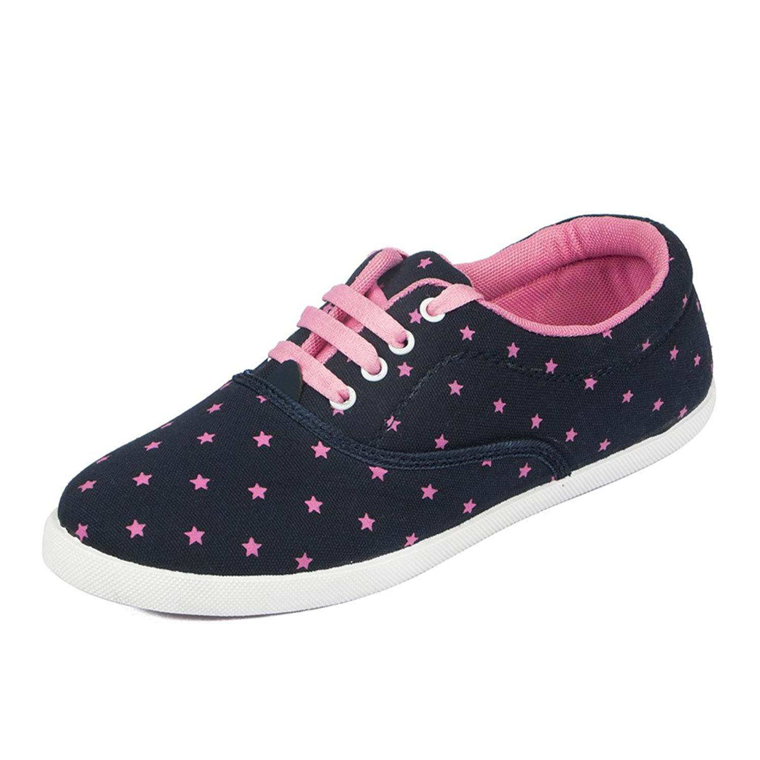 Asian shoes RL-23 Navy Blue Pink Canvas Women Shoes: Buy Online at ...