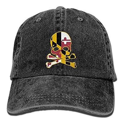 SARA NELL Unisex Adult Maryland Flag Skull Vintage Adjustable Baseball Cap Denim Dad Hat