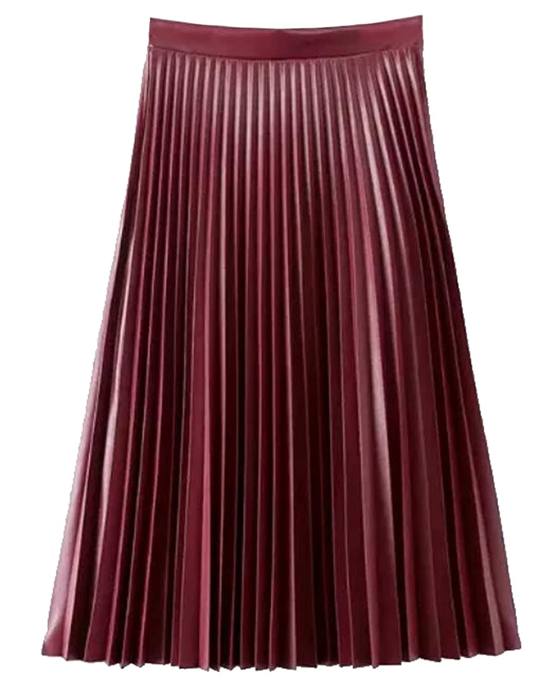 YUNY Womens Classic PU Leather High Waist Pleated A-line Skirt ...