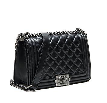 97e703d16bc6b S Lady Design Fashion Frauen Karriere OL Schwarz Handtasche kariert Kette  Tasche Umhaengetasche Mode-Strasse