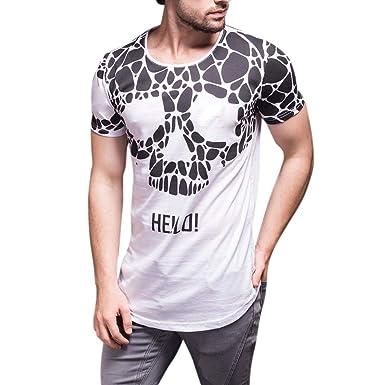 Camiseta Hombre Manga Corta, Lunule Camiseta Calavera Hombre Verano Blusa Slim Splice Casual Camisetas Tops Hombre Verano: Amazon.es: Ropa y accesorios