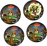 Dogs Playing Poker 1903 C.M.Coolidge Set of 4 Lunch / Dinner Plates (Glass)