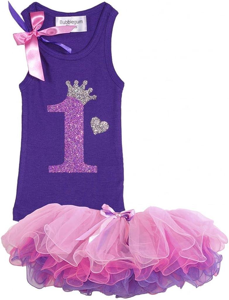 Bubblegum Divas Baby Girls 1st Birthday Purple Rainbow Princess Shirt