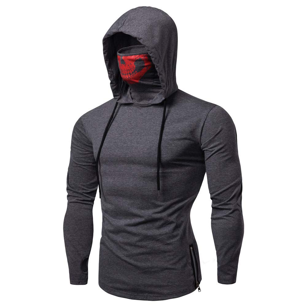 PASATO Mens Mask Skull Pure Color Pullover Long Sleeve Hooded Sweatshirt Tops Blouse