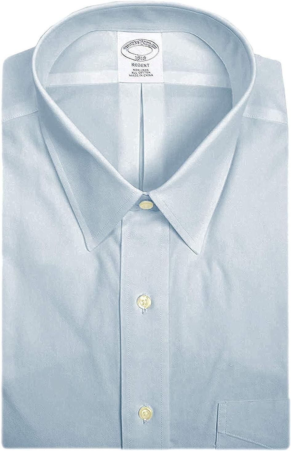 BROOKS BROTHERS - Camisa de Vestir para Hombre (100% algodón, no Necesita Planchado), Color Azul Claro