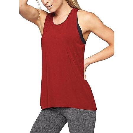 Camiseta de Tirantes para Mujer,Camisa de Yoga con Espalda Cruzada para Mujer Camiseta sin Mangas Activa sin Espalda con Entrenamiento Deportivo ...