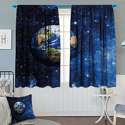 Space Thermal Insulating Blackout Curtain Outer View of Planet Earth in Solar System with Stars Life on Globe Themed Image Patterned Drape For Glass Door 72''x84'' Blue Green by lacencn