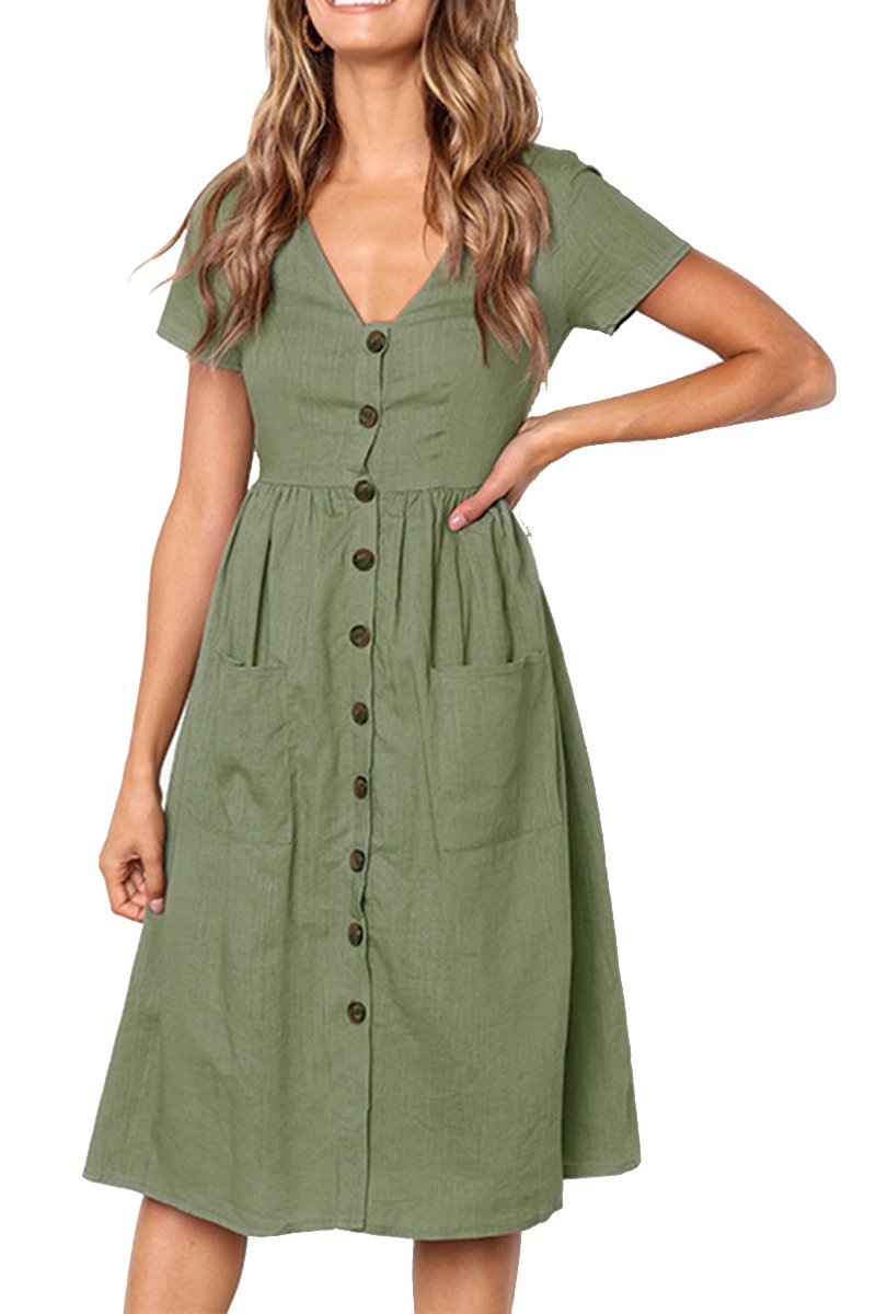 Boosouly Womens Plain Dress Short Sleeve Button Down V Neck Sundress with Pockets  Green M e8408aae3