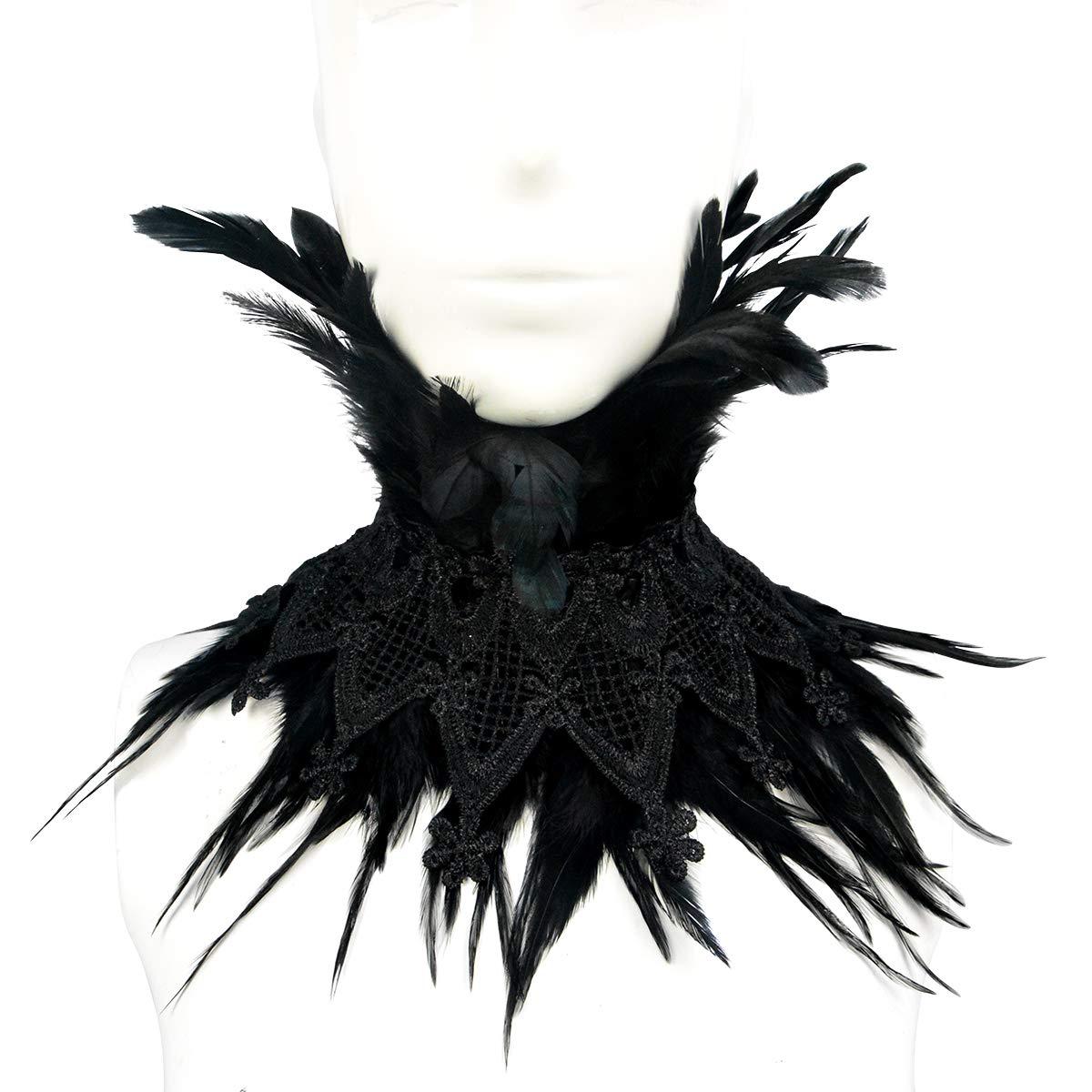 Homelex Plume naturelle victorienne noir gothique Collier ras du cou Cap