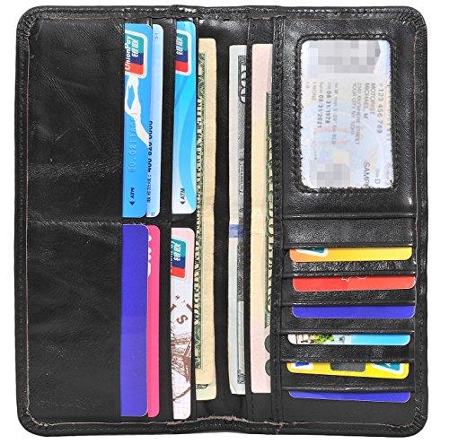 Style Black Leather Billfold Wallet - Yeeasy Men's Vintage Genuine Leather Long Wallets Bifold Wallet For Men (Black)