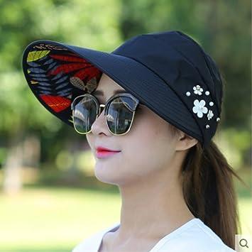 0f1079e0771 KaiKBax Sun Hats Sun Visor Hat Sun Hats for Women with Big Heads Beach Hat  Summer UV Protection Black  Amazon.ca  Home   Kitchen