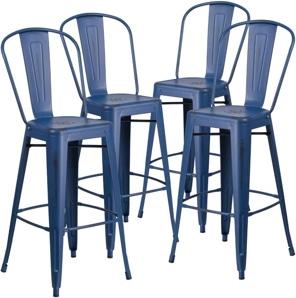 """Flash Furniture Commercial Grade 4 Pack 30"""" High Distressed Antique Blue Metal Indoor-Outdoor Barstool with Back"""