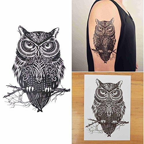 COKOHAPPY Large Temporary Tattoo , Owl