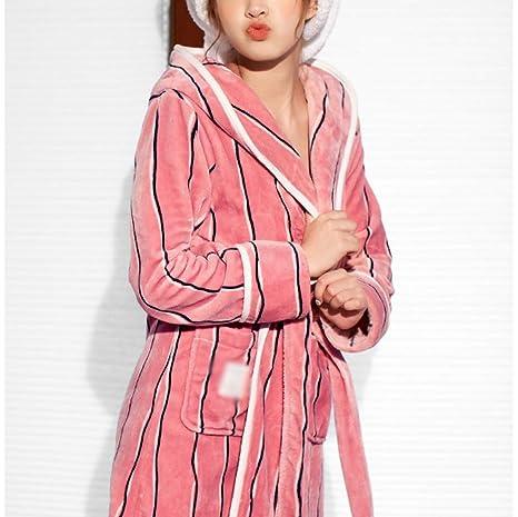 Bata De Baño Suave para Hombres De Las Mujeres A Rayas con Capucha Pareja Robe Cálido Y Acogedor Camisón Mujer Bata De Dormir Ropa De Dormir: Amazon.es: ...