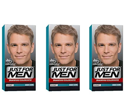 3 x JUST FOR MEN Shampoo Colorante Biondo Scuro Naturale  Amazon.it   Bellezza f0e34d2c2380