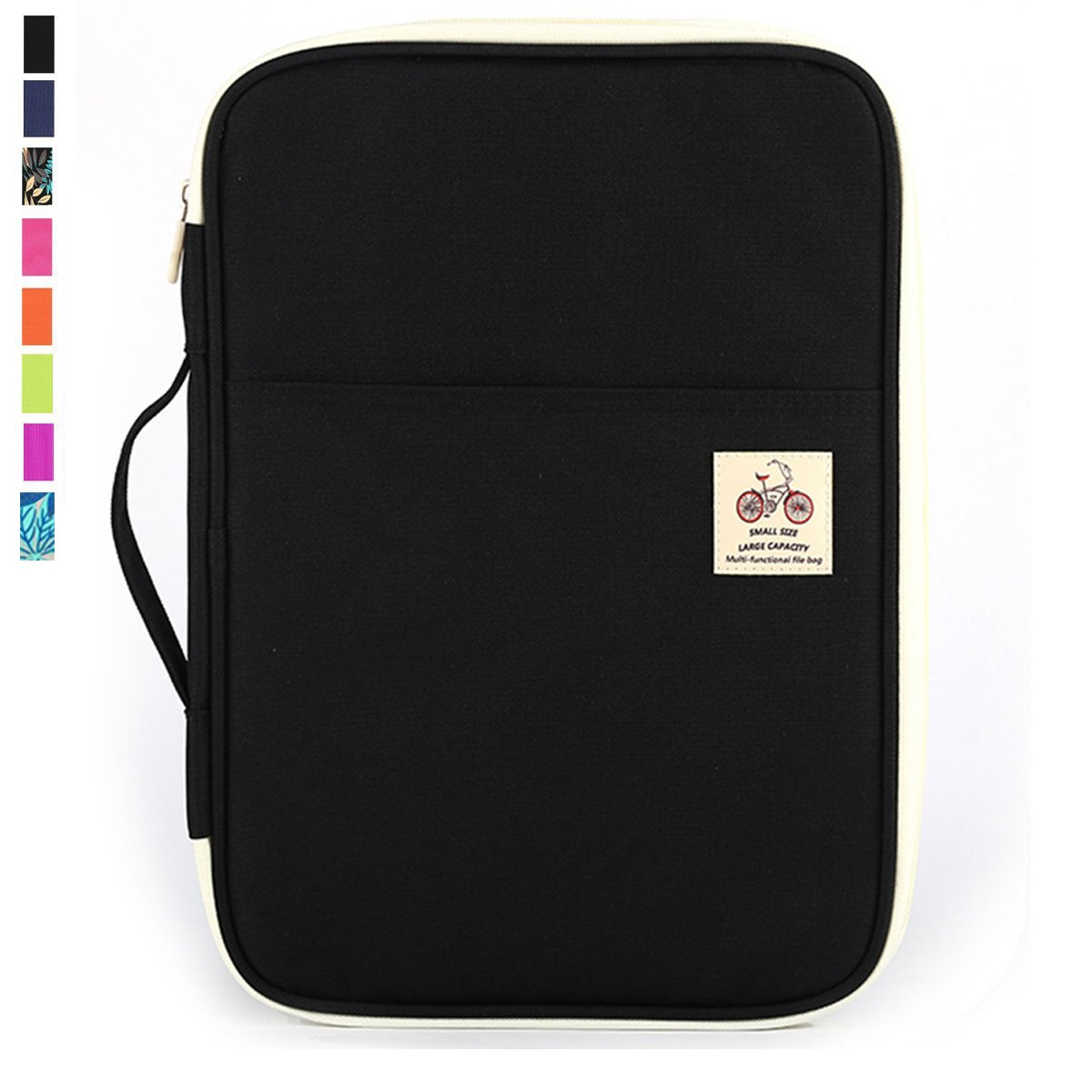 JAKAGO Travel Portfolio Waterproof Oxford Fabric Carrying Case Pad Holder Sleeves Business Portfolio Resume Padfolio Passport & Travel Document Holder and Organizer with Zipper Closure (Black)