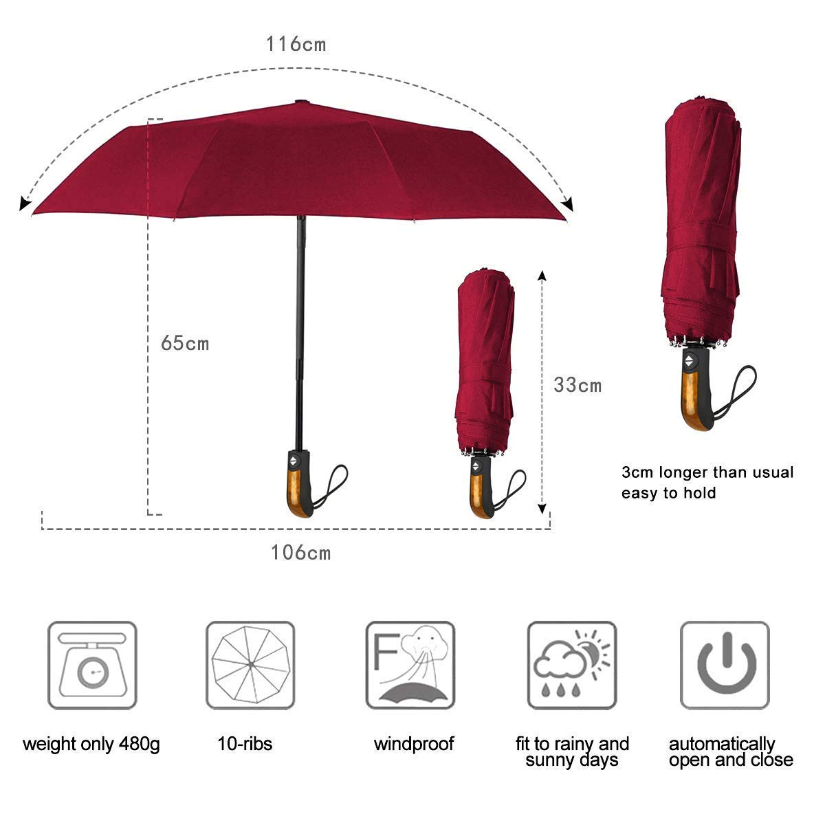 Teflon 190T Canopy 140km//h R/ésistant au Vent Parapluie Pliant avec 10 Baleines Renforc/é Parapluie de Voyage pour Homme et Femme Ouverture et Fermeture Automatique