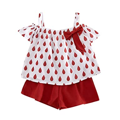 54785c0d23b86 Amazon.com: Cuekondy Toddler Baby Girls Kids Water Drop Printed Off  Shoulder Bowknot Tops T-Shirt+Shorts Summer Clothes Outfit: Clothing