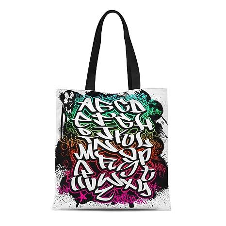 Amazon Com Semtomn Cotton Canvas Tote Bag Grafitti Graffiti