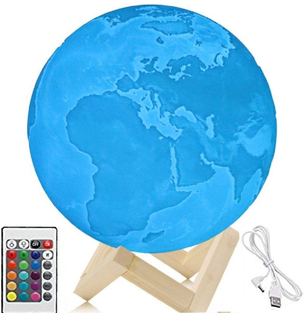 5.9 Inch Moon Lamp, 3D Printed Earth Lamp, Earth Light,Touch Control and Remote Control, 16 Colors with Wood Stand (5.9in)