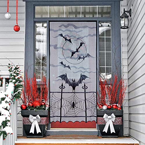 N&T NIETING 1pcs Black Bats Halloween Lace Window Curtain,Spider Web Bats Door Curtain Panel Decor for Spooky Halloween Holiday Party Decoration,40x84 inch ()