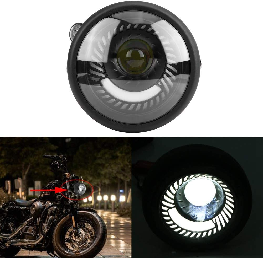 KIMISS 6.5inch Front Motorcycle LED Headlight Headlamp Bulb with Cold White Light Universal 3 Lamp Beads 3 Lamp Beads