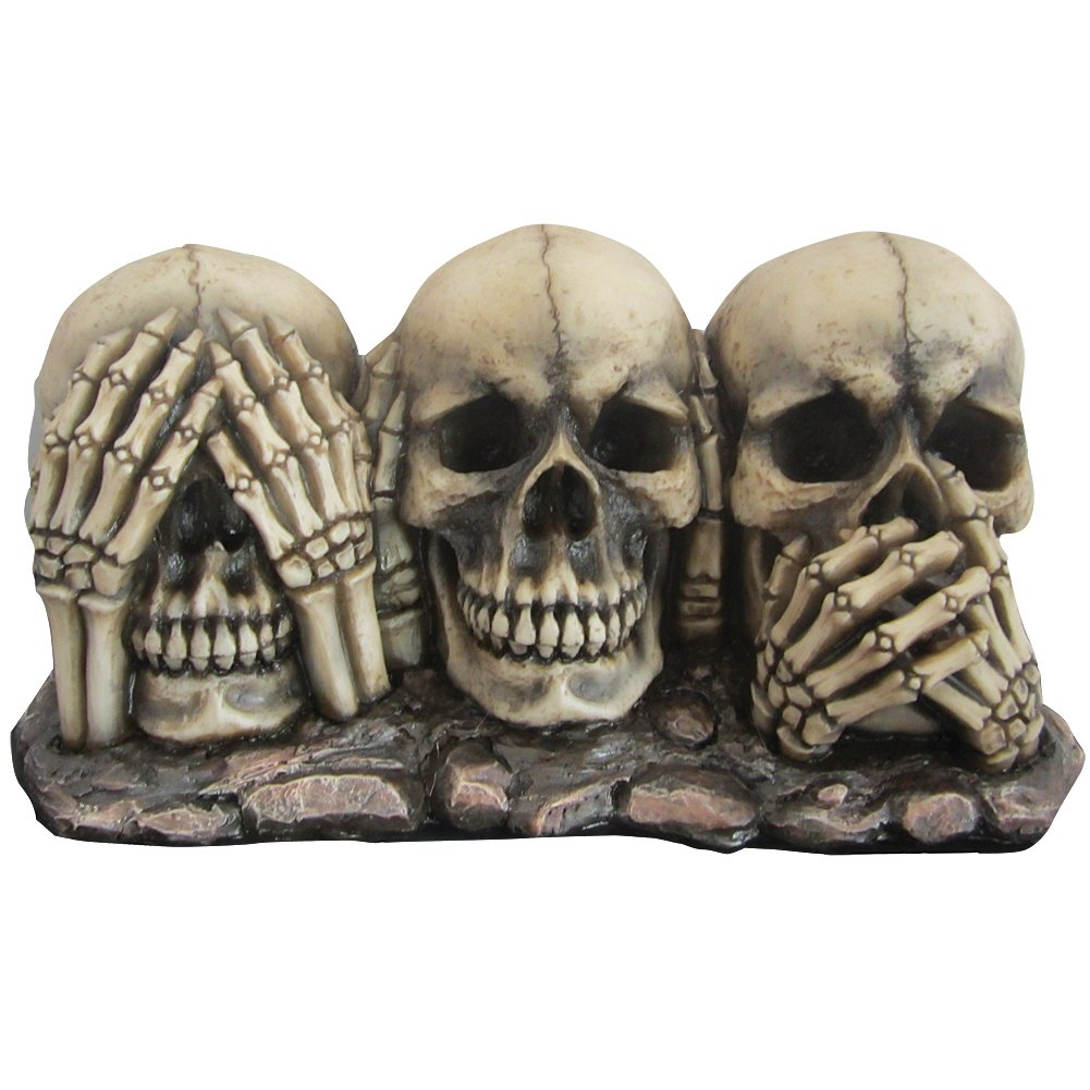 Hear Speak See No Evil Skulls - Three Wise Skeleton Proverb Bones Decoration Statue