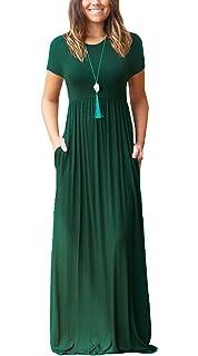 94258514a33e8e VIISHOW Frauen-lange Hülsen-lose einfache Maxi kleidet beiläufige lange T-Shirt  Kleid