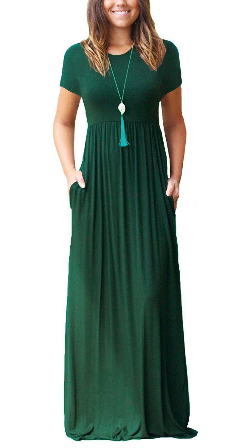 HIYIYEZI Women's Short Sleeve Loose Plain Maxi Dresses Casual Long Dresses with Pockets (L, 02 Dark Green- Short Sleeves)