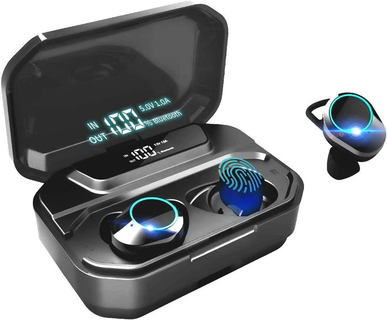 HAMTOD G02 Auriculares Bluetooth,inalámbricos Verdaderos IPX6 Mini Twins In-Ear Sport Bluetooth 5.0, 110H Playtime con Estuche de Carga 3300mAh, con Control táctil de Audio estéreo 3D con micrófono