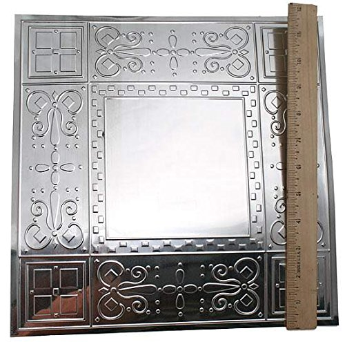 Factory Direct Craft Galvanized Tin Decorative Ceiling Tiles | 4 Tiles | For Indoor Decor (Scroll) (Scroll Ceiling Tile)
