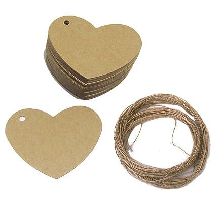 Ben noto TAG - Etichette a forma di cuore in carta da pacchi con filo di  CC09