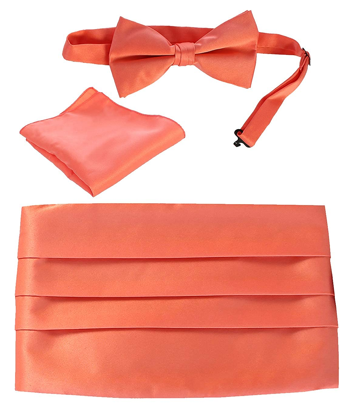 Gioberti Men's Satin Formal Bow Tie, Pocket Square, and Cummerbund Set, Coral China CM-93:COB