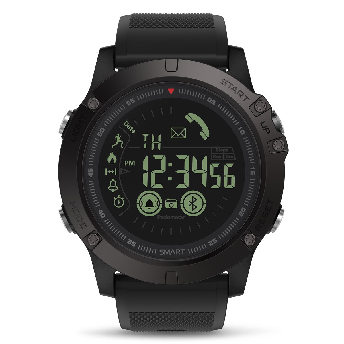 Smart Sports Watch, GOKOO Digital Outdoor Sports Smartwatch for Men with Pedometer, Calorie Counter, Distance, Stopwatch, Clock Alarm, Notifications for Android and iOS Phones - Black