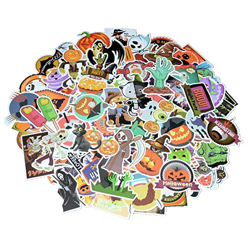 100 Pieces Waterproof Vinyl Halloween Theme Stickers for Personalize Laptop, Car, Helmet, Skateboard, Luggage Graffiti Decals (1A Section)
