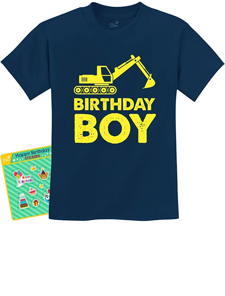 Birthday Boy Gift Idea Yellow Tractor Bulldozer Construction Party Kids Shirts