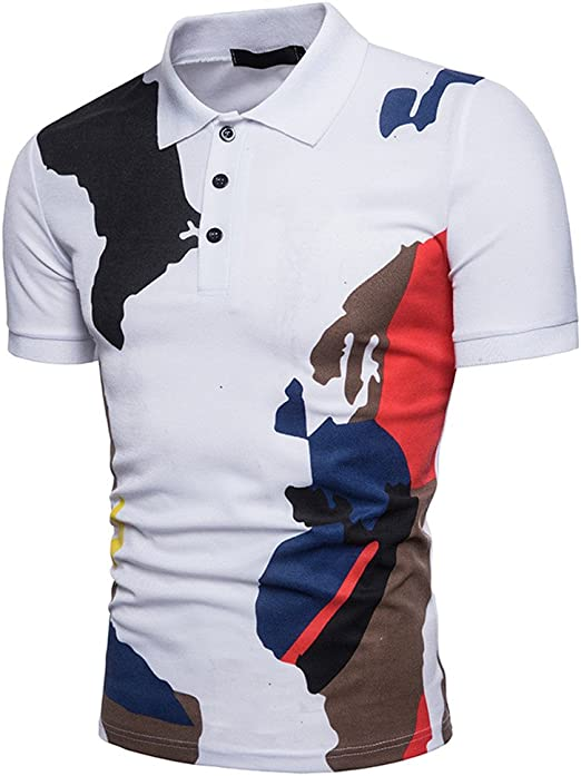 Fxbar,Floral Printed Men/'s Personalized Blouse Short-Sleeve Pullover Button Down Polo Shirts