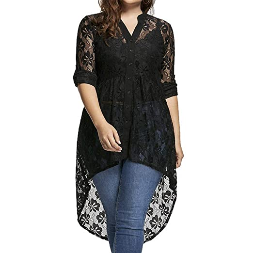 bb4162b8e8 Women Plus Size High Low Long Sleeve Sheer Lace Crochet Open Front Cardigan  Tops at Amazon Women's Clothing store: