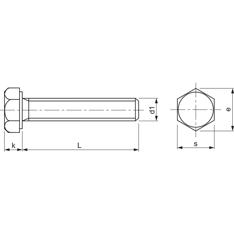 100 St/ück verzinkt ohne Schaft SECOTEC Sechskant-Schraube DIN 933 M6x20