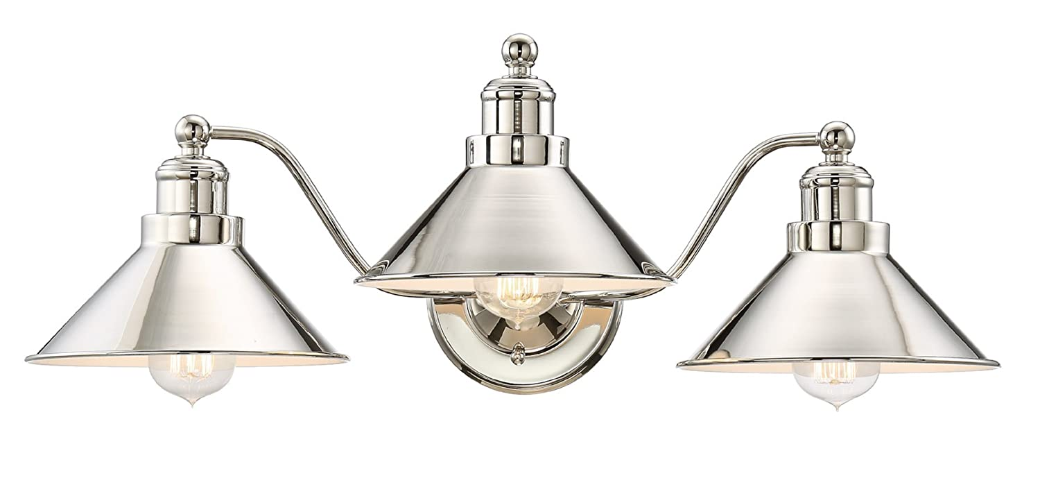 "Kira Home Welton 25.5"" Modern Industrial 3-Light Vanity/Bathroom Light, Polished Nickel Finish"