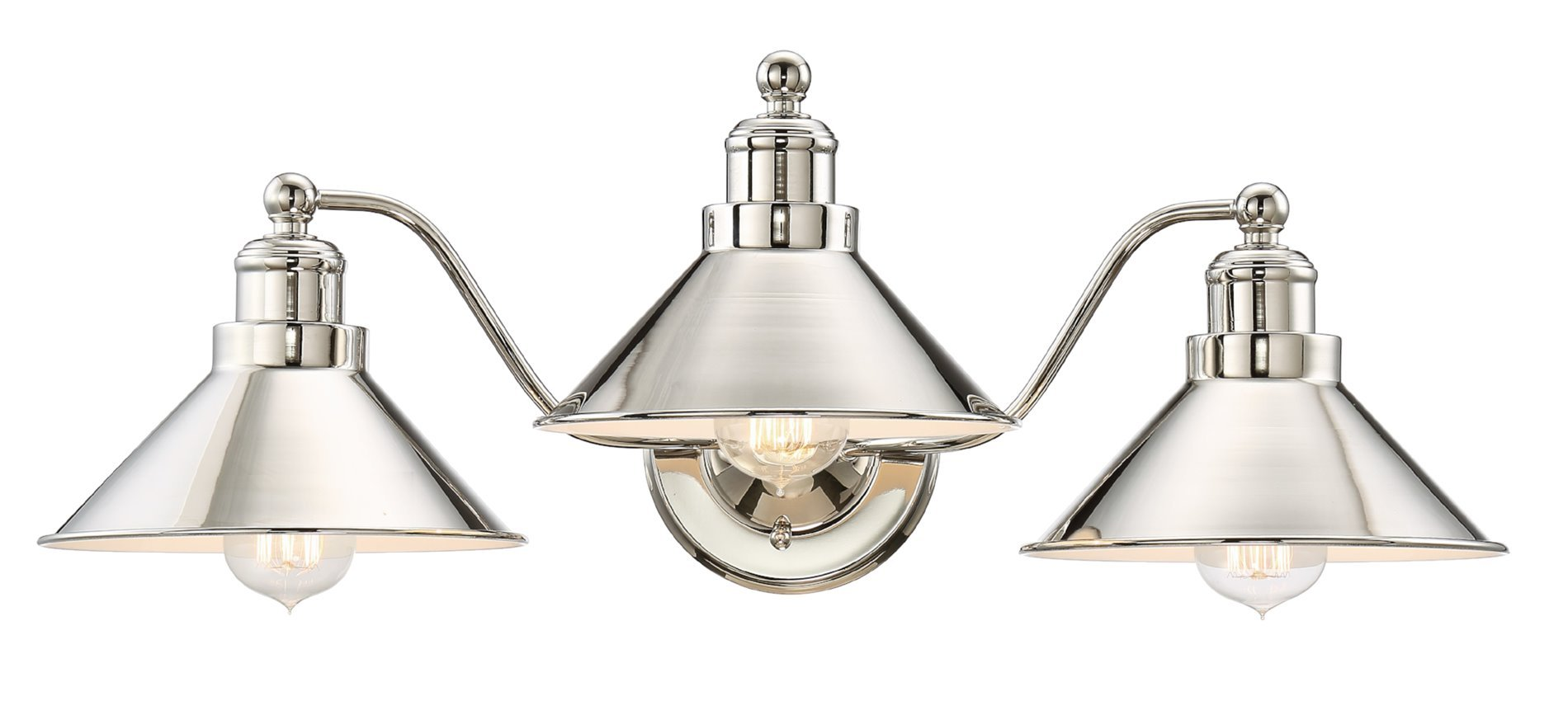 "Kira Home Welton 25.5"" Modern Industrial 3-Light Vanity/Bathroom Light, Polished Nickel Finish - INDUSTRIAL, MODERN DESIGN: This large, elegant 3-light vanity emits a gorgeous glow capable of providing a bright light in any setting. Featuring a polished nickel finish, this fancy fixture is a stylish piece that will enhance your home DIMENSIONS: Wall Sconce: 9.5"" (H) x 25.5"" (L) x 12.25"" Projection from wall, Back plate: 0.75"" (H) x 5.5"" (D), Shade: 3.75"" (H) x 8.5"" (D). Dimmer compatible UL LISTED FOR YOUR SAFETY: UL listed for damp locations. Uses (3) LED, CFL or up to 60W traditional incandescent medium base bulbs. Bulbs sold separately - bathroom-lights, bathroom-fixtures-hardware, bathroom - 615ZSmRL3rL -"