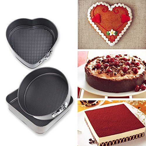 Springcake Nonstick Bakeware Springform Pan Set Bundle with 10-Inch Square, 9.8-Inch Round, 8.6-Inch Heart Shaped Cake Pan and Cake Recipe EBook (Set of 3)