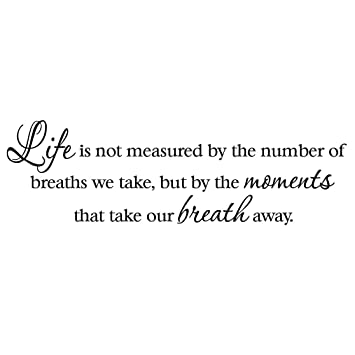 Amazon.com: Life Is Not Measured By The Number Of Breaths We Take But By  The Moments That Take Our Breath Away Decal Wall Quote Inspirational Words:  Home U0026 ...
