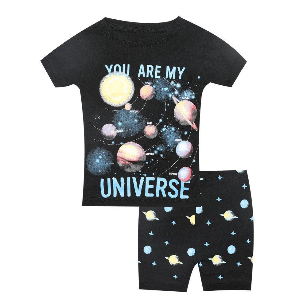 Children Kids Boys Summer Pajama Sets 100% Cotton Suit for 2T-7T Various Styles T-Shirt Short Sets (Colorful Universe, 5T)