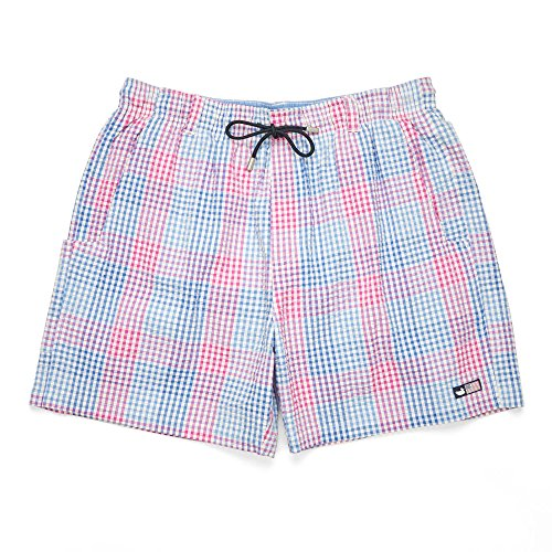 (Southern Marsh Dockside Swim Trunk   Seersucker Gingham Lilac   Pink Medium)