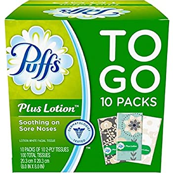 Puffs Plus Lotion Travel-Size Pocket Facial Tissues 10 Tissues per Pack (10 To Go Packs)