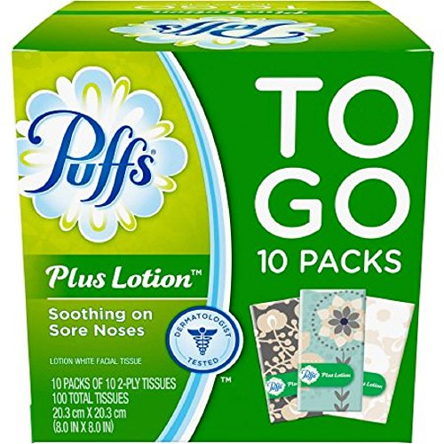 - Puffs Plus Lotion Travel-Size Pocket Facial Tissues 10 Tissues per Pack (10 To Go Packs)