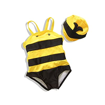 Cartoon Little Bee Children's One Piece Swimsuit, Siamese Sling Cap Swimwear