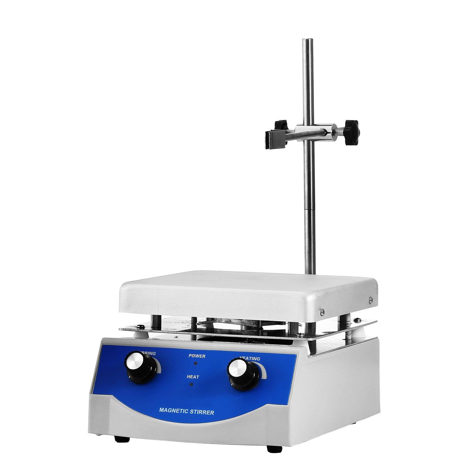 Happybuy Magnetic Stirrer 6.7 X 6.7Inch SH-3 Magnetic Mixer 500W 3000ml Magnetic Stirrer Hot Plate 1600 RPM Magnetic Stirrer with Free Stirring Rod